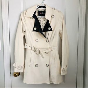 Guess cream faux leather trench coat XS